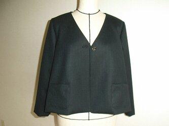 受注制作ウールのカーディガンジャケット(深緑ストライプ)の画像