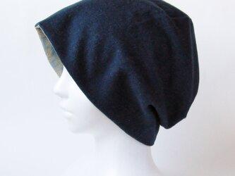 ゆったり暖かリバーシブルの帽子 紺フランネルとライトグレーに花火のダブルガーゼ (CNR-009-KGF)の画像