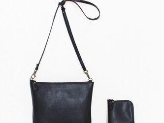 軽量ポシェットと小さいお財布のセット♪ブラック (受注生産)の画像