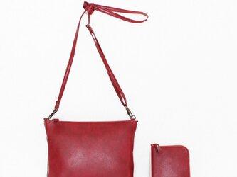 軽量ポシェットと小さいお財布のセット♪レッド (受注生産)の画像