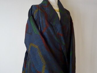 大島紬 着物リメイク 羽のように軽いショールコート 大きいサイズの画像
