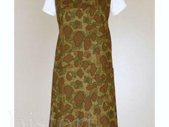 バッククロスエプロン camo イージーエプロン フリーサイズ コットン 綿の画像