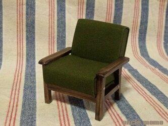 ドール用ソファ1人掛け(色:グリーン×エボニー) 1/12ミニチュア家具の画像