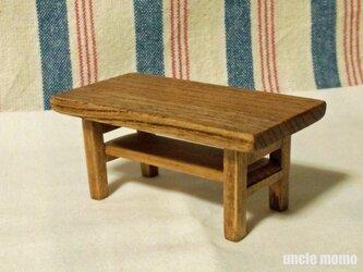 ドール用ローテーブル(ケヤキ/色:チェスナット) 1/12ミニチュア家具の画像