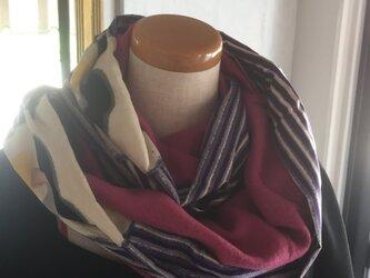 銘仙とフリースのスヌード 着物リメイク ベイクドピンクの画像
