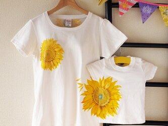 親子でお揃い手描きのひまわりTシャツの画像