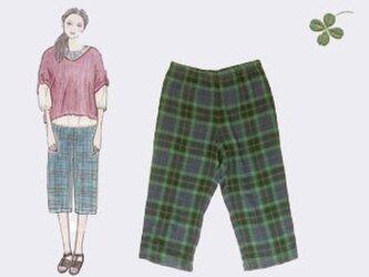 ブラックウォッチ風チェックの7分丈パンツの画像