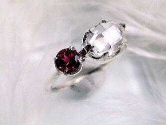 ハーキマーダイヤモンド+ピンクトルマリンSVリングの画像