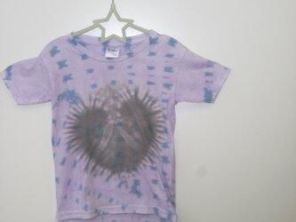 タイダイ染め くろーい!ハートもようのキッズTシャツ110サイズの画像