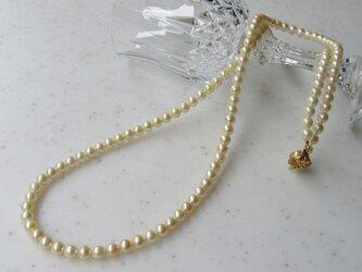 クリーム系あこやベビー真珠ロングネックレス (5mm珠80cm)N-2の画像