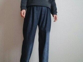 裾絞りパンツ股上長めデニムウエストゴムの画像