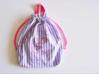 持ち手つき 体操着入れ お着替え巾着袋 ストライプパープル 「vêtements」入園入学グッズ   の画像