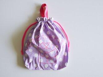 持ち手つき 体操着入れ お着替え巾着袋 ドットパープル 「vêtements」入園入学グッズ   の画像