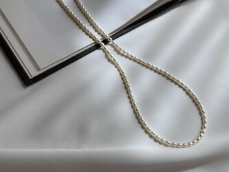 14KGF淡水パールライス一連ネックレスの画像