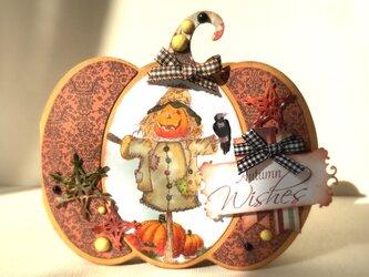 案山子とかぼちゃのカードの画像