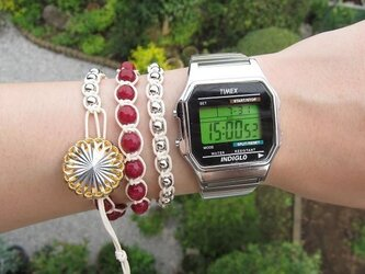 wrap bracelet (silver, garnet)の画像