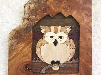 木壁画「半眼のフクロウ」の画像