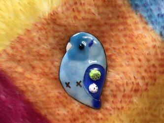 受注製作 七宝  マメルリハ ブルー ブローチの画像
