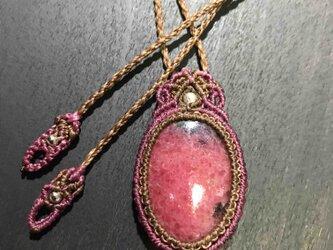 611-ロシア産ロードナイトのネックレスの画像