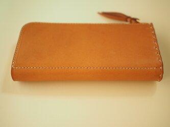 L字ファスナーの短め長財布 / キャメルの画像