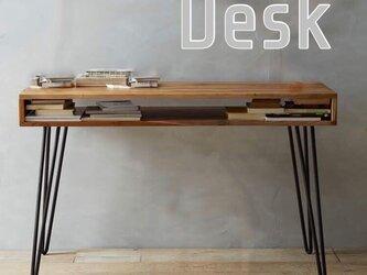受注製品 北欧家具 シンプル おしゃれデスク アイアンウッド 男前インテリア アンティーク風 パイン無垢集成材の画像