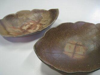 備前焼木の葉深皿2枚セットの画像