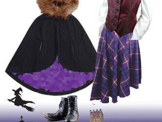タータンチェック・サーキュラースカート紫の画像