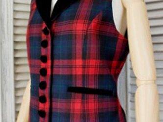 タータンチェック・衿付きジレ【Maclaclan】の画像
