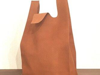 限定品 幾何学柄 スウェード ブラウン コンビニエンスバッグ Sサイズ トートバッグの画像
