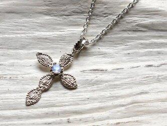 lace cross necklace(sv*ロイヤルブルームーンストーン)★レース★クロス★ネックレス★シルバー★天然石の画像
