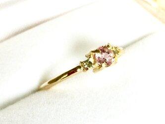 K10(10金)ピンクサファイアとアクアマリンのリング<受注制作>の画像