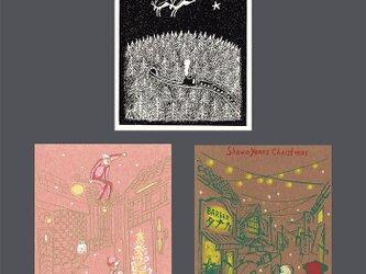 ノスタルジーxmas*版画(シルクスクリーン)ポストカード*3枚セットの画像