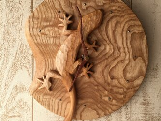 gecko wall clock birch+tamoの画像