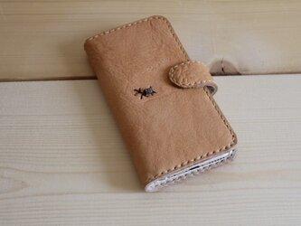 栃木レザー 手縫いの手帳タイプスマホケース(iPhoneXR)の画像
