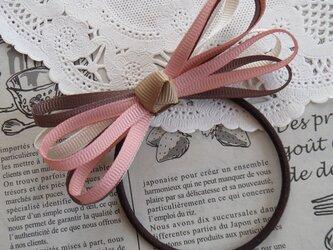 ★りぼん★ チョコレート色の細いリボンのヘアゴムの画像