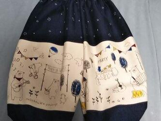 3歳ユニセックス秋冬くまさんもんぺロングバルーンパンツの画像