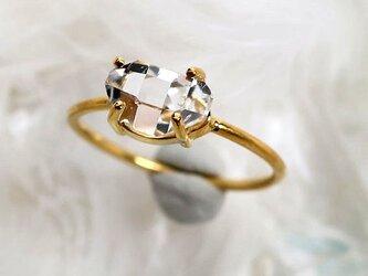 ハーキマーダイヤモンドSVK18GPリングの画像
