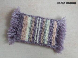 ドール用ツヴィスト刺繍のラグ(玄関・ルームマット)Lavender 1/12ミニチュア・ファブリックの画像
