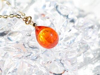 【ハンドメイドガラス】オレンジレッドネックレスの画像