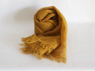 【再販】草木染め 柔らかリネンガーゼのストール <マスタード>の画像