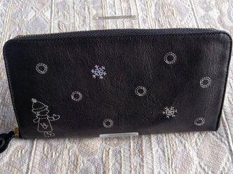 刺繍革財布『Ricca(雪とこども)』ラウンドファスナー型(牛革)の画像