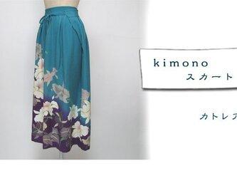 着物リメイク  スカート(袴タイプ)カトレア柄1130-cの画像