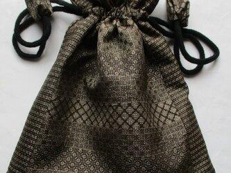 送料無料 大島紬で作った巾着袋 3838の画像
