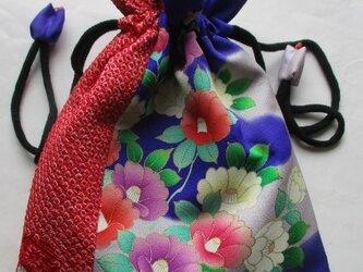 送料無料 花柄の振袖と絞りで作った巾着袋 3840の画像