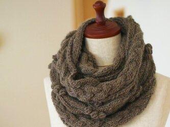 【編み物キット】ボップルナッツのスヌード(メランジブラウン・グレージュからお選びください)の画像