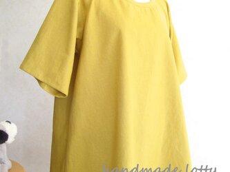 《受注制作》【M】Aラインチュニックハーフリネン(黄) 半袖_C18の画像