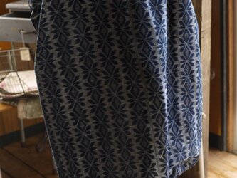 久留米絣正藍染手織りのスクエアワンピースの画像