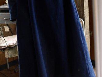 藍染木綿Aラインワンピースの画像
