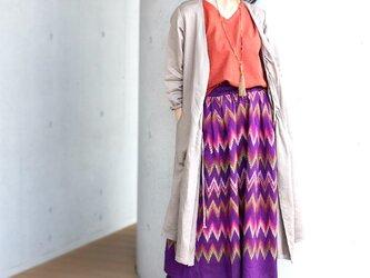 ミャンマーの手織り綿ギャザースカート【マンダレー】の画像