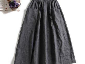 806-2大人め天然麻のロングスカート ポケットつき ダークグレーの画像